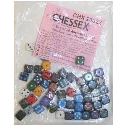 Chessex -  BULK D6 Dice Assorted Loose Speckled 12mm with Pips (50 Dice in Bag)