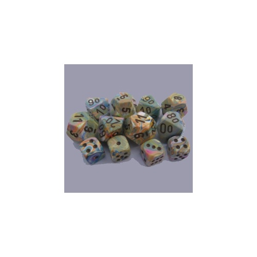 Chessex -  D6 Dice Festive 16mm Vibrant/Brown (12 Dice in Display)