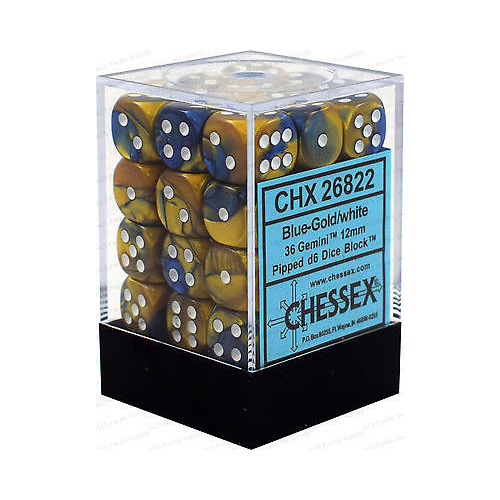 Chessex -  D6 Dice Gemini 12mm Blue-Gold/White (36 Dice in Display)
