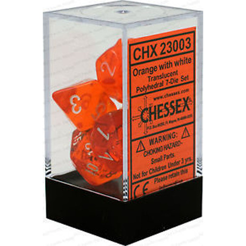 Chessex -  D7-Die Set Dice Translucent Polyhedral Orange/White (7 Dice in Display)