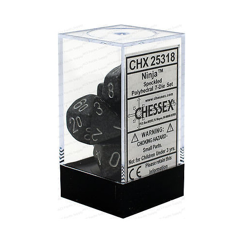 Chessex -  D7-Die Set Dice Speckled Polyhedral Ninja (7 Dice in Display)